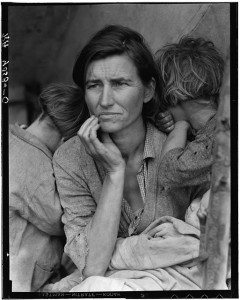 "Perhaps Lange's best known photograph is ""Migrant Mother"" which portrays Florence Thompson with three of her children in a photograph known as ""Migrant Mother."""