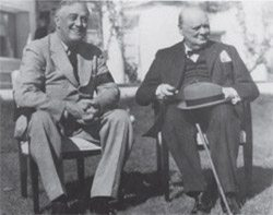 This 1943 photo shows Franklin D. Roosevelt with Winston Churchill in Casablanca, Morocco.  Photo credit: Grace Tully Collection, FDR Library