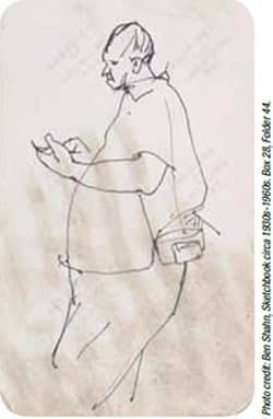 Original sketch from American artist Ben Shahn, best known as a social realist. Digitized on a Zeutschel overhead book scanner utilizing PerfectBook curvecorrecting software.